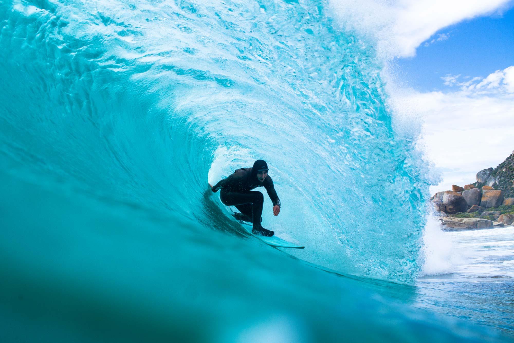 A vudu Surfer in a barrel at Llandudno